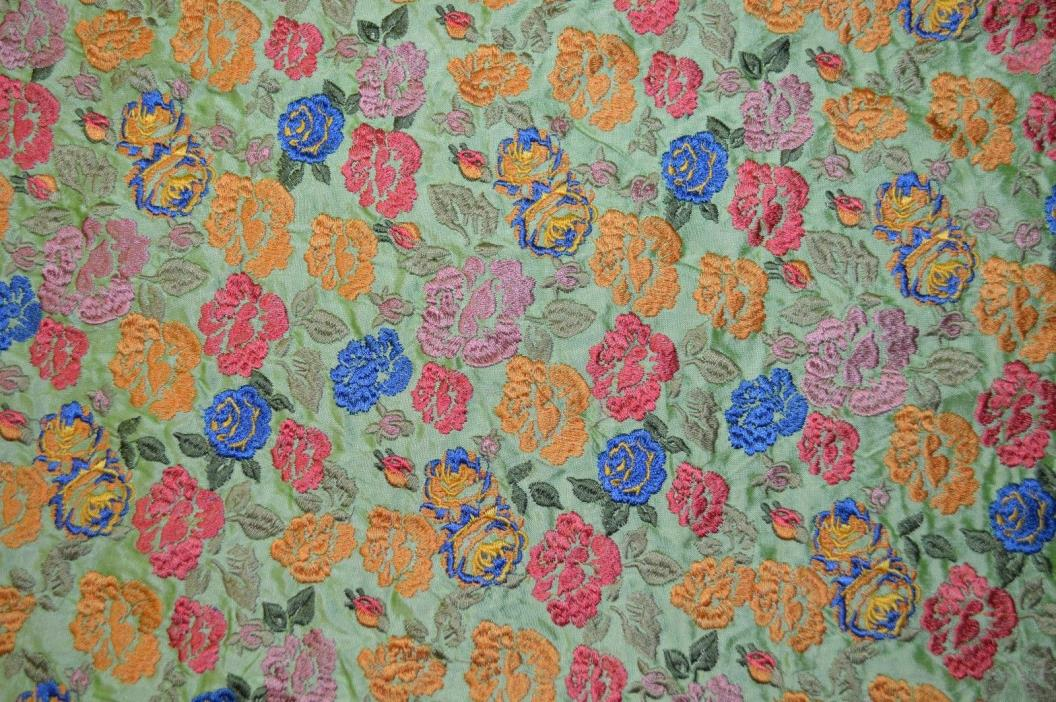Embroidered Multi color silk fabric. By the yard