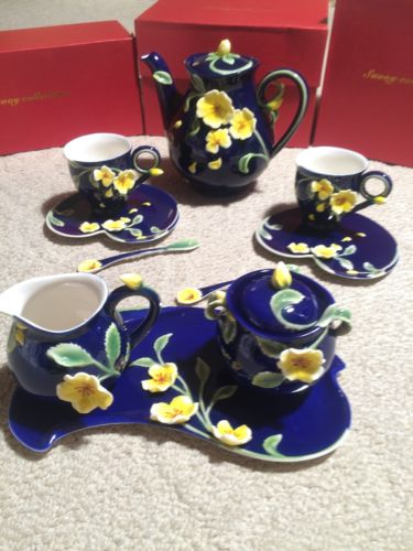 (12 Piece) Manchu Rose Savoy Sculptured Porcelain Tea Set Cobalt Blue