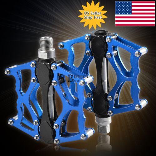 Bearing CNC Pedals Bicycle Platform for MTB BMX Mountain Bike 9/16 Blue