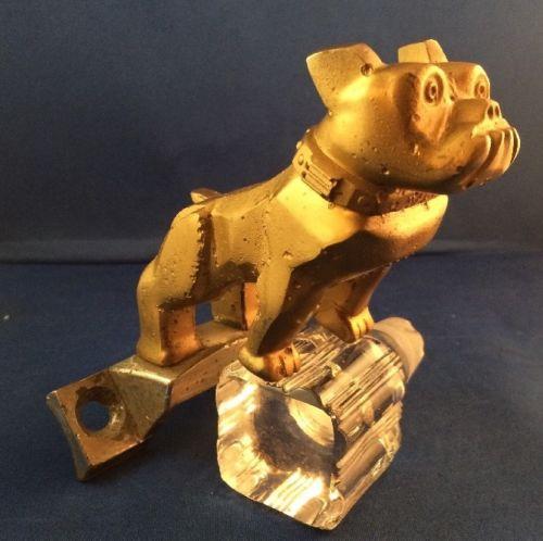 Vintage Mack Truck Bulldog Hood Ornament and Bracket