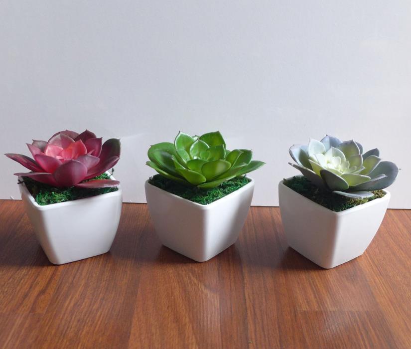 3 Colors Artificial lotus Plant Potteds