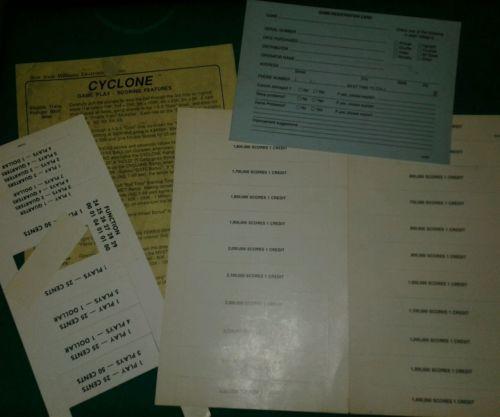WILLIAMS CYCLONE PINBALL MACHINE SCORECARDS ETC lot#112