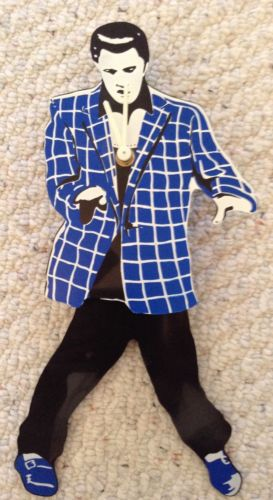 Elvis Presley Swinging Legs Pendulum Wall Clock Blue Checkered Coat