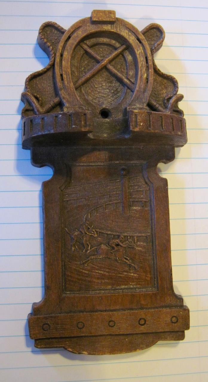 VTG Wood & Resin Ornawood Orna Wall Plaque Horse Racing Horse Shoe Whip Cowboy