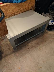 TV stand with glass shelves (North Rose Hill)