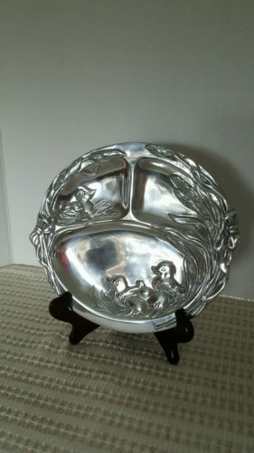 COLLECTIBLE ARTHUR COURT POLISHED PEWTER DIVIDED DUCK FAMILY BABY PLATE 1998...
