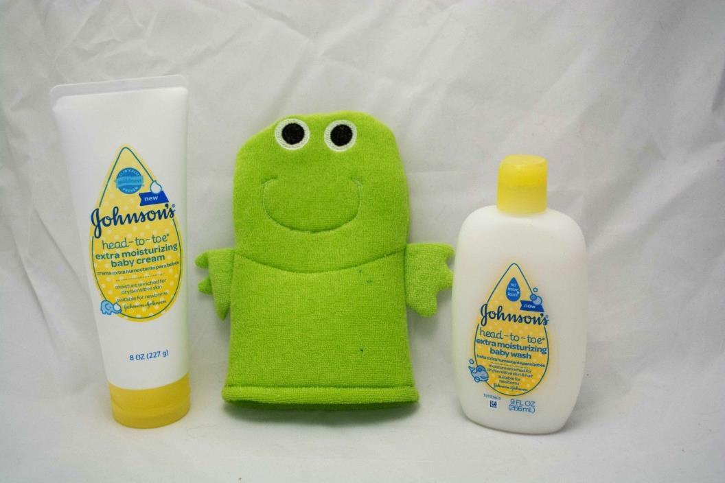 Johnson's Baby Wash and Moisturizer with Scrubbing Bath Puppet head to toe New!