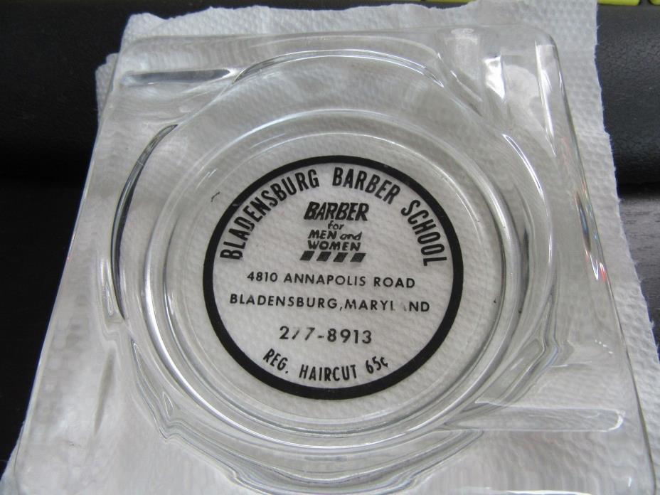 VINTAGE BARBER SHOP SCHOOL GLASS ASHTRAY BLADENSBURG MARYLAND HAIRCUT 65 CENTS