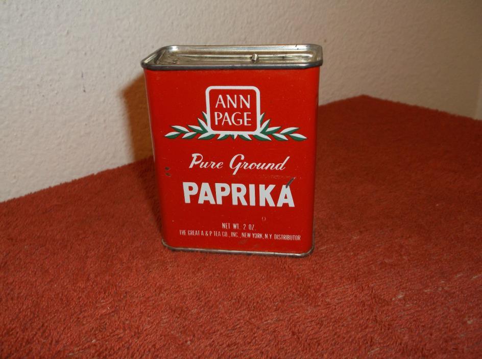 VINTAGE ANN PAGE PAPRIKA 2.0 oz  METAL SPICE TIN.by A & P TEA CO...