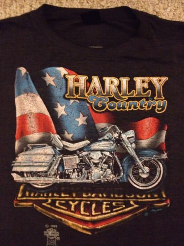 1985 Harley Davidson 3D Emblem Harley Country T-Shirt Perry HD Michigan RARE (L)