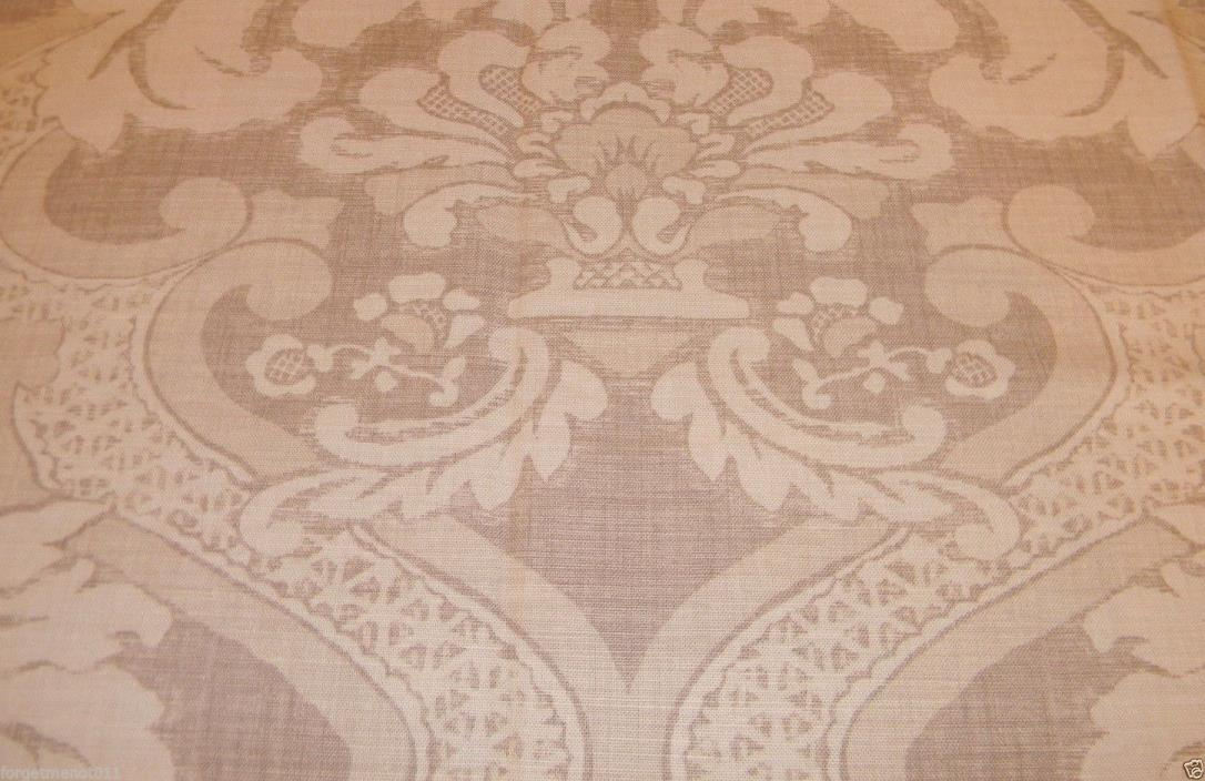 NINA CAMPBELL LINEN TOILE Oyster & Light Taupe Made in England Lrg Remnant 59x53
