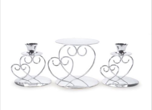 Double Heart Unity Wedding Candle Holder Set - Silver- Taper Holder -