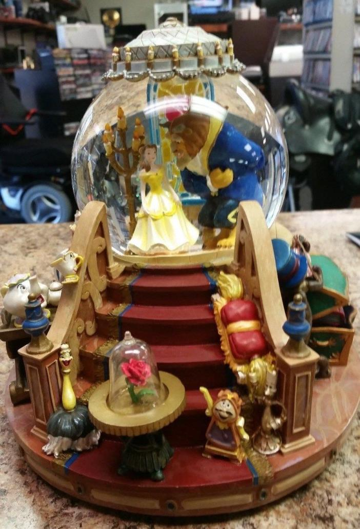 Walt Disney BEAUTY AND THE BEAST Snow globe w/ music box Retired 1992