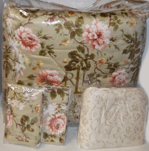 Ralph Lauren Queen Comforter Set YORKSHIRE ROSE FLORAL GREEN 4P NEW COTTON Green