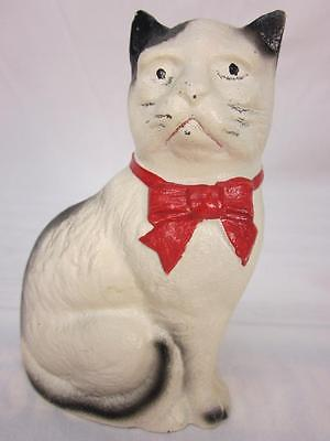 Vintage Cast Iron Cat Bank Seated With Red Bow