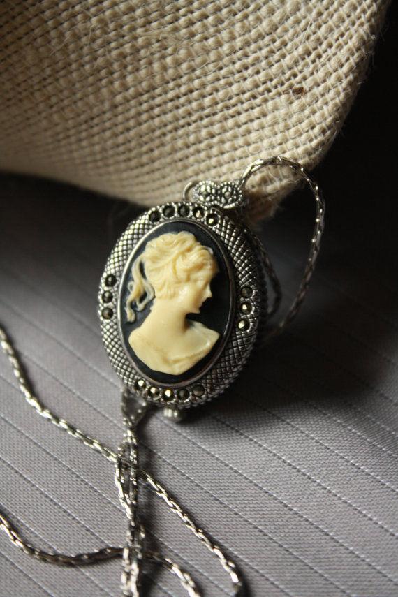Vintage Vanity Fair Necklace Pendant Watch Cameo Silver-Tone Marcasites VFW566