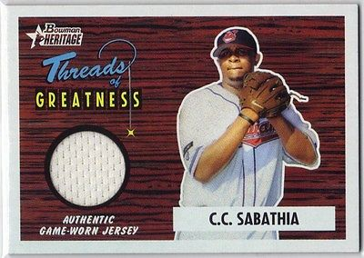 C.C.SABATHIA 2004 BOWMAN HERITAGE THREADS of GREATNESS #TG-CS