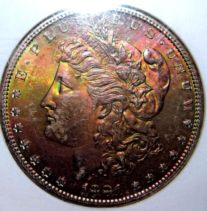 1881-S RAINBOW TONED BINION MORGAN SILVER DOLLAR~NGC~BRILLLIANT UNCIRCULATED *