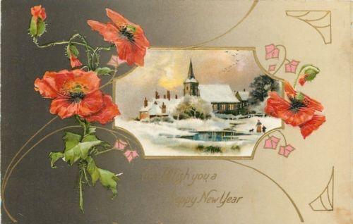 New Year~Orange Poppies~Gold Art Nouveau~Winter Church~Emboss~Winsch Series~1908