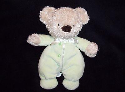 Carters Plush Stuffed Tan Teddy Bear Green PJ Romper Velour White Satin Bow