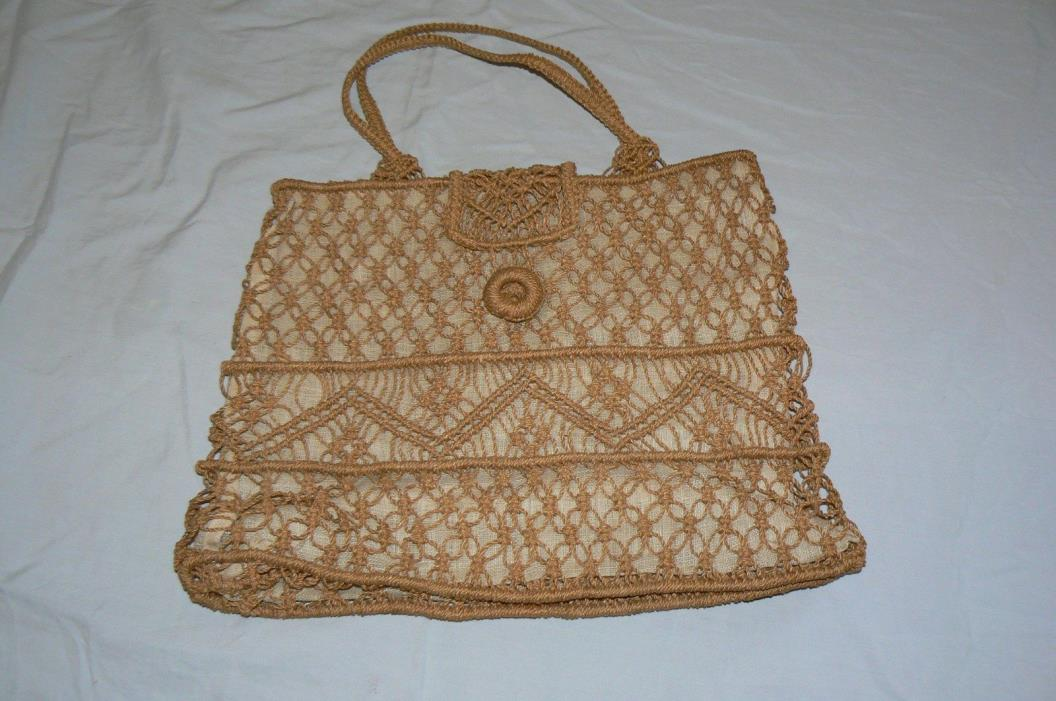 Vintage Knit and fabric handbag