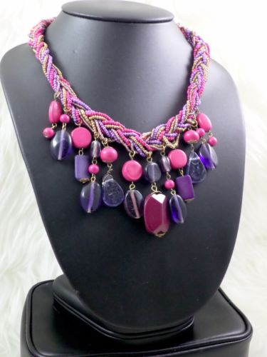 Addictive Multicolor Multi beaded Fashion Choker Bib Necklace With Drop Charms
