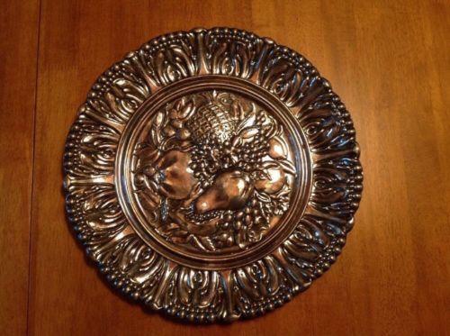 Reed And Barton #140 Fruit Motif Serving Platter Silver Plate Vintage V Stamp