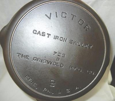 VINTAGE #723B GRISWOLD #9 VICTOR CAST IRON SKILLET FRYING PAN RESTORED