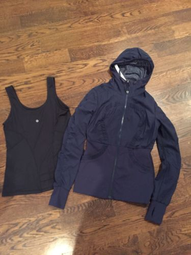 LULULEMON Dance Studio Reversible Hooded  Jacket & Tank 8/10 Navy Black Lot Of 2