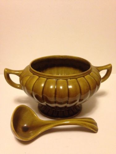 Vintage California Pottery Punch Bowl Tureen with Ladle
