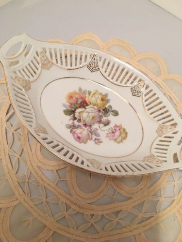 VTG Porcelain  Serving Tray Gold Tone Trim. Flowers. Made In Germany