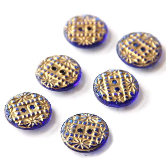 6 Vintage Matching Blue Glass Buttons Golden Luster Texture Detailed Top 3/4