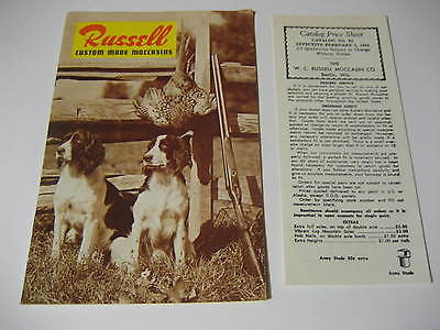 1964 Russell Custom Made Moccasins Catalog w/ Price Sheet