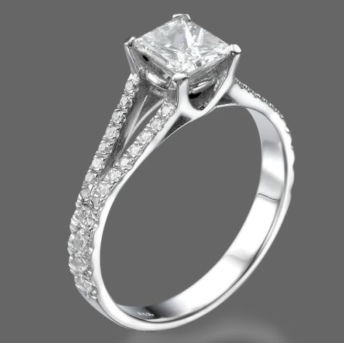 1 CT Diamond Engagement Ring Princess Cut D/SI 18K White Gold Enhanced