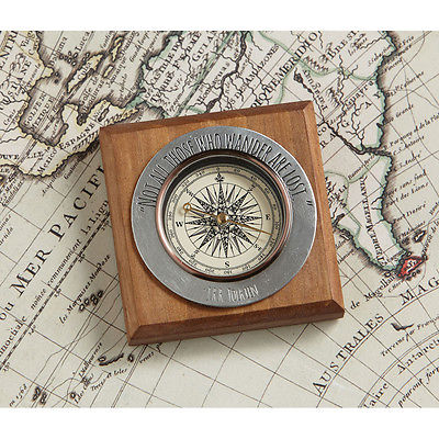 Not All Those Who Wander Are Lost Pewter Compass - Tolkien Quote LOTR
