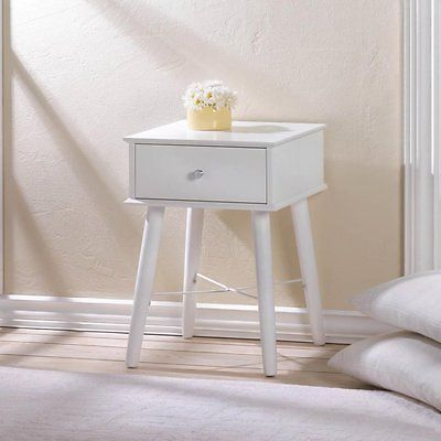 Mid Century Style Side Table White Wood with Drawer