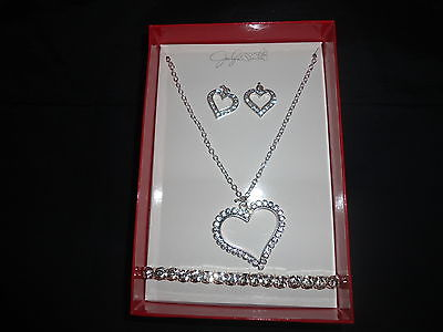 Womens (Jaclyn Smith) Silvertone/Crystal (Necklace/Bracelet/Earrings) 3 PC Set