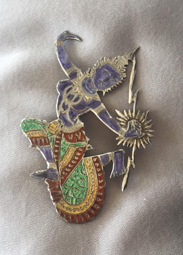 Vintage Siam Thailand LARGE Sterling Silver ENAMEL Pin Brooch FIGURAL DANCER