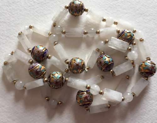 Vintage Chinese Enamel Bead Quartz Necklace