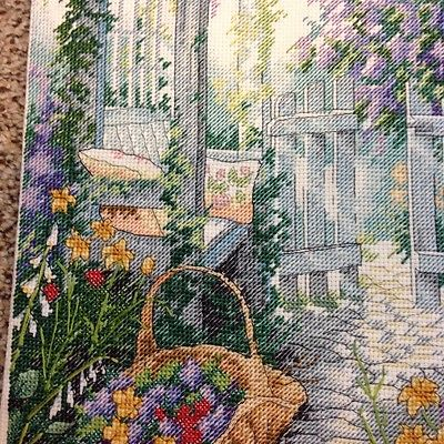 COUNTRY GARDEN COMPLETED CROSS STITCH