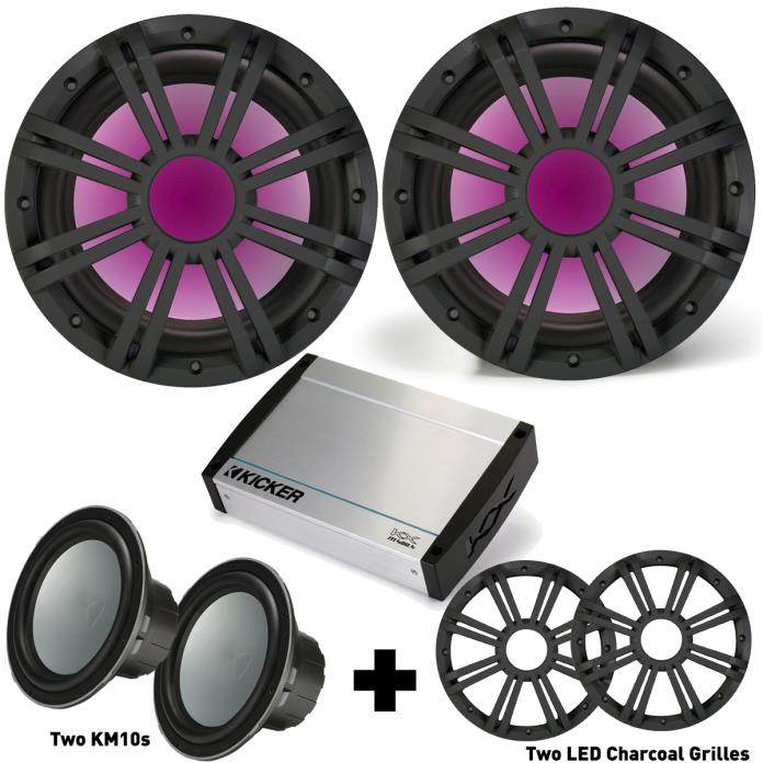 Kicker Marine Bass Package 43KM104 Subs w/ LED Grilles, 40KXM4004 Marine Amp