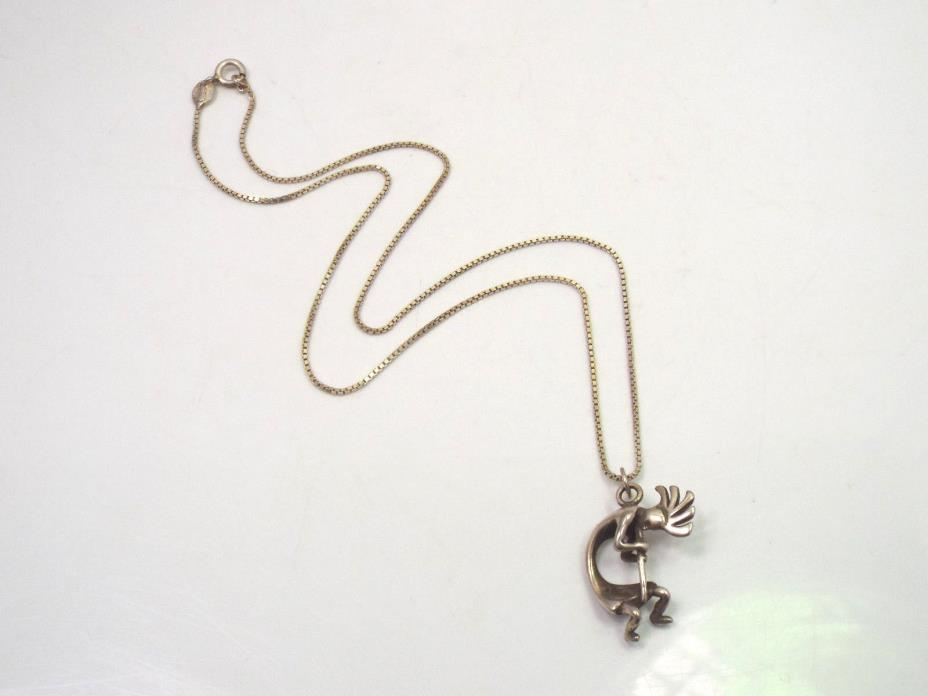 Vintage Sterling Silver Kokopelli Pendant Necklace, Signed Masha