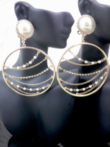 Glamerous Formal Gold Dangel Drop Circle Earrings With Pearl Accents