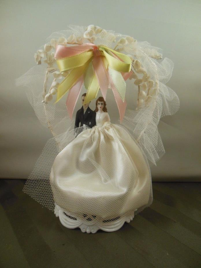 Vintage 1950s Wedding Cake Topper Bride Groom