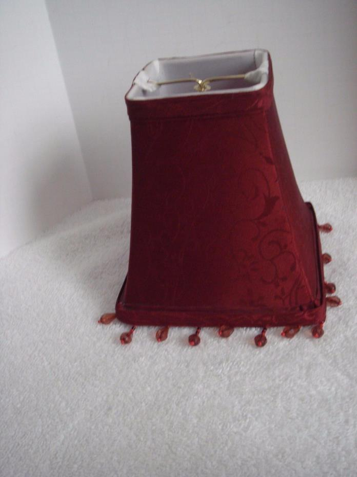 Burgundy Damask Clip On Mini Shade with Bead Accent Trim