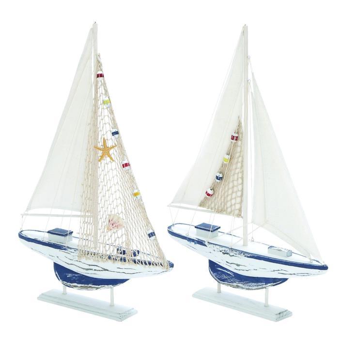 Sea And Aquatic Fauna Assorted Wooden Sailing Boat - S/2 Sea And Aquatic Fauna A