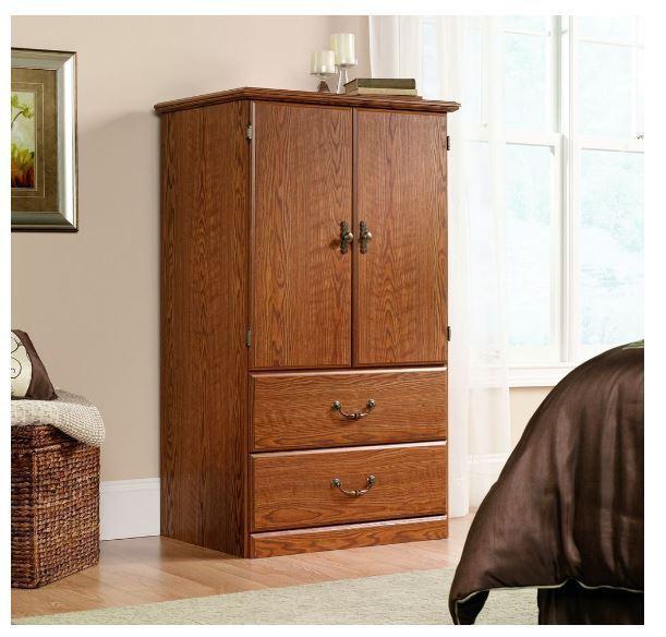 Sauder Orchard Hills Carolina Oak Armoire with Adjustable Shelves and 2 Drawers