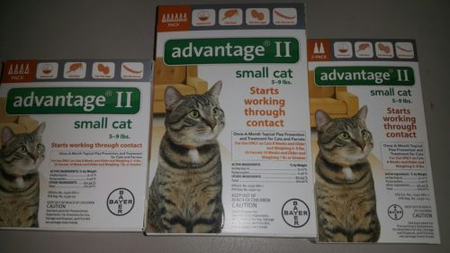 12 MONTH Advantage II Flea Control Small Cat for Cats 5-9 lbs New/Sealed ORANGE