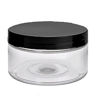 6 Clear Low Profile 4 Oz Jars PET Plastic Empty Cosmetic Containers, Black Caps,