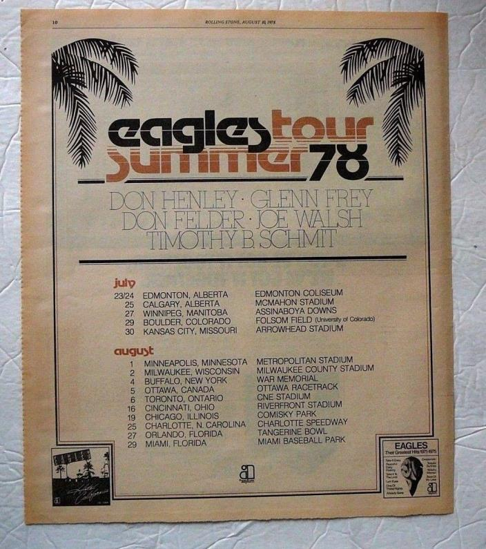 EAGLES SUMMER  U.S. TOUR LARGE 1978 ROLLING STONE DISPLAY AD